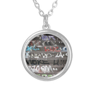 Wellcoda Graffiti Vandal Print Urban Life Round Pendant Necklace