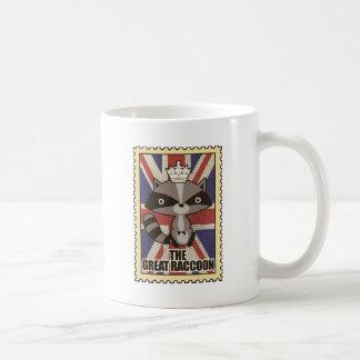 Wellcoda Great Britain Raccoon GB Animal Basic White Mug