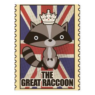 Wellcoda Great Britain Raccoon GB Animal Postcard