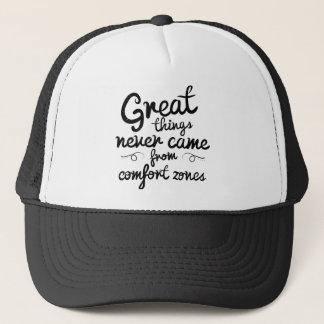 Wellcoda Great Things Never Comfort Zone Trucker Hat