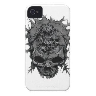 Wellcoda Grey Skull Head Brain Dead Mind iPhone 4 Covers
