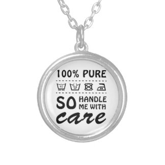 Wellcoda Handle Me With Care 100% Pure Fun Round Pendant Necklace
