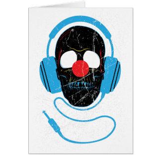 Wellcoda Headphone Skull Face Clown Nose Greeting Card