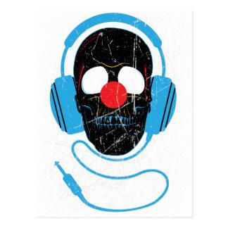 Wellcoda Headphone Skull Face Clown Nose Postcard