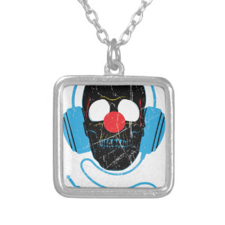 Wellcoda Headphone Skull Face Clown Nose Silver Plated Necklace