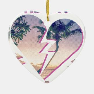 Wellcoda Heart Breaker Lover Palm Tree Ceramic Heart Decoration