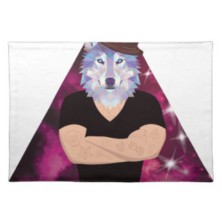Wellcoda Hipster Tattoo Wolf Wild Animal Placemat