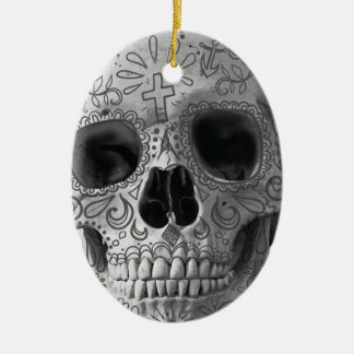 Wellcoda Human Candy Skull Death Head Ceramic Oval Decoration