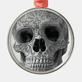 Wellcoda Human Candy Skull Death Head Silver-Colored Round Decoration