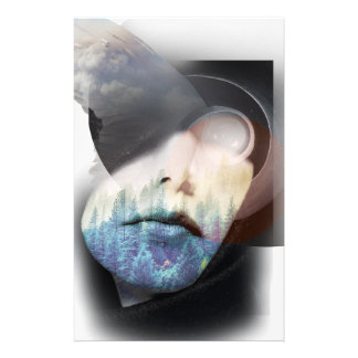 Wellcoda Human Nature Portrait Cloud Face Personalized Stationery