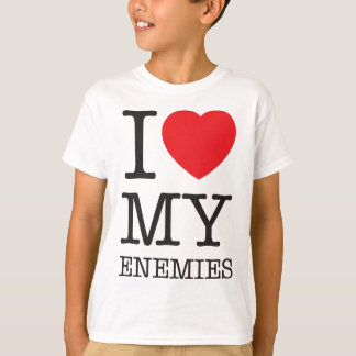 Wellcoda I Love My Enemies Fun Heart Hate T-Shirt