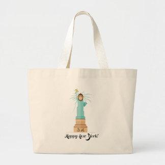 Wellcoda Independence New York Monkey NYC Large Tote Bag