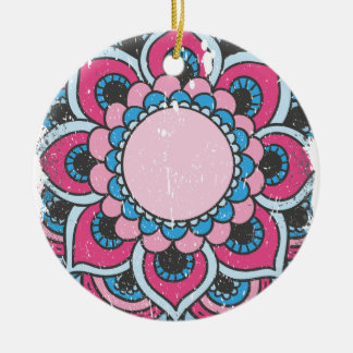 Wellcoda Indian Flower Bloom Pattern Asia Christmas Ornament