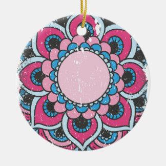 Wellcoda Indian Flower Bloom Pattern Asia Round Ceramic Decoration