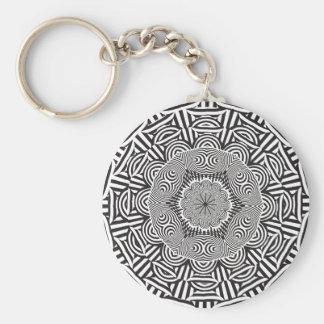 Wellcoda Indian Style Illusion Optical Basic Round Button Key Ring