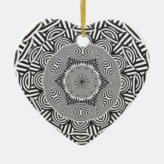 Wellcoda Indian Style Illusion Optical Ceramic Heart Decoration