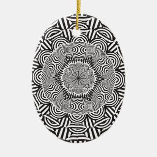 Wellcoda Indian Style Illusion Optical Ceramic Oval Decoration