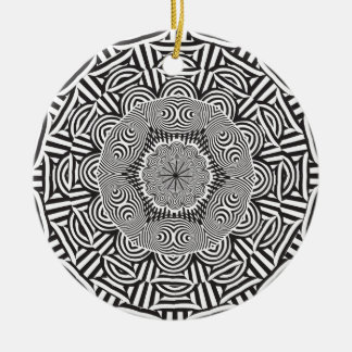 Wellcoda Indian Style Illusion Optical Round Ceramic Decoration