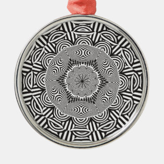 Wellcoda Indian Style Illusion Optical Silver-Colored Round Decoration