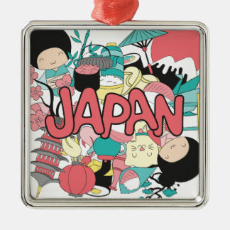Wellcoda Japan Cartoon Culture Anime Life Silver-Colored Square Decoration