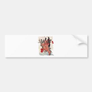 Wellcoda Japan Fighter Samurai Anime Art Bumper Sticker