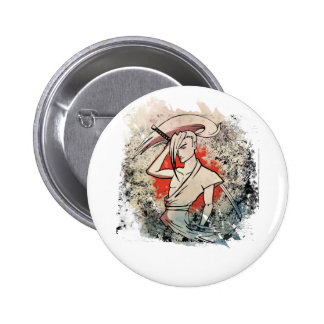 Wellcoda Japan Samurai Sword Fight Attack 6 Cm Round Badge