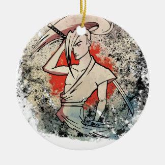 Wellcoda Japan Samurai Sword Fight Attack Round Ceramic Decoration