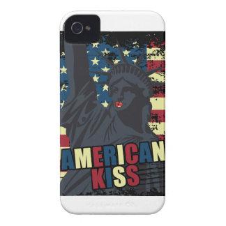 Wellcoda Liberty Statue Kiss America Lips iPhone 4 Case-Mate Cases
