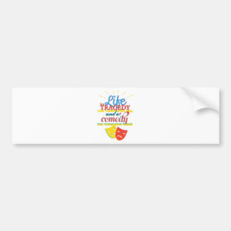 Wellcoda Life Comedy Tragedy Mask Living Bumper Sticker