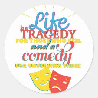 Wellcoda Life Comedy Tragedy Mask Living Classic Round Sticker