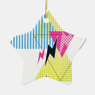 Wellcoda Lightning Bolt Triangle Flash 80's Christmas Ornament