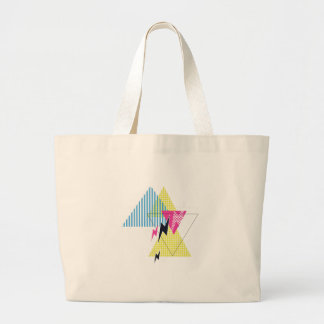 Wellcoda Lightning Bolt Triangle Flash 80's Large Tote Bag