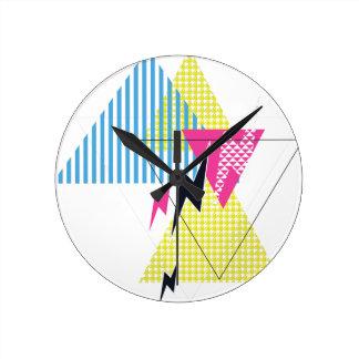 Wellcoda Lightning Bolt Triangle Flash 80's Round Clock