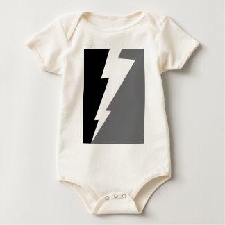 Wellcoda Lightning Shock Strike Grey Black Baby Bodysuit