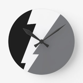 Wellcoda Lightning Shock Strike Grey Black Round Clock