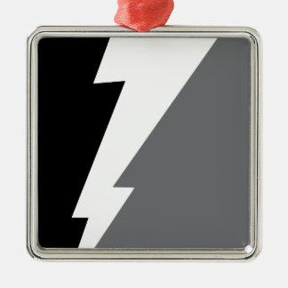 Wellcoda Lightning Shock Strike Grey Black Silver-Colored Square Decoration