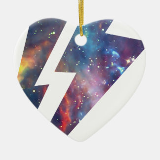 Wellcoda Lightning Strike Space Cosmos Ceramic Heart Decoration