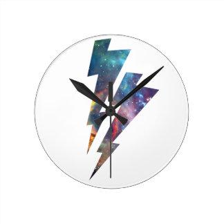 Wellcoda Lightning Strike Space Cosmos Round Clock