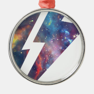 Wellcoda Lightning Strike Space Cosmos Silver-Colored Round Decoration