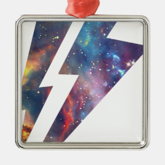 Wellcoda Lightning Strike Space Cosmos Silver-Colored Square Decoration