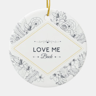 Wellcoda Love Me Back Diamond Romantic Round Ceramic Decoration