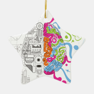 Wellcoda Mad Side Of Brain Fun Study Life Ceramic Star Decoration