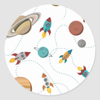 Wellcoda Meet You In Galaxy Mad Planet Classic Round Sticker