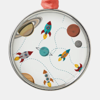 Wellcoda Meet You In Galaxy Mad Planet Silver-Colored Round Decoration