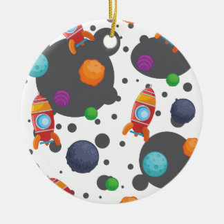 Wellcoda Meet You In Space Fun Mad Planet Round Ceramic Decoration