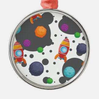 Wellcoda Meet You In Space Fun Mad Planet Silver-Colored Round Decoration