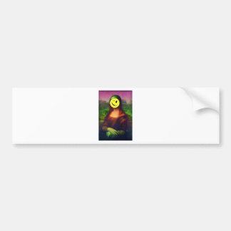 Wellcoda Mona Lisa Smile Face Funny Emoji Bumper Sticker