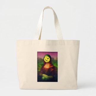 Wellcoda Mona Lisa Smile Face Funny Emoji Large Tote Bag