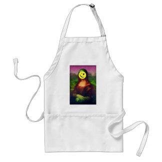 Wellcoda Mona Lisa Smile Face Funny Emoji Standard Apron