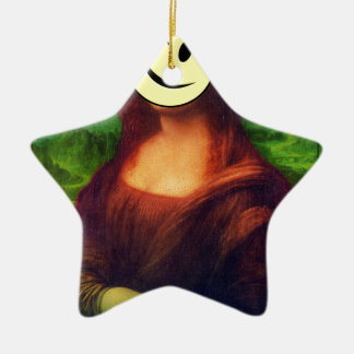 Wellcoda Mona Lisa Smile Wink Emoji Art Christmas Ornament